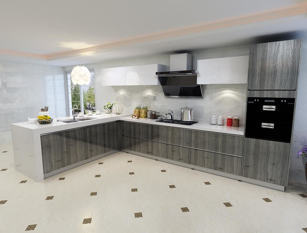 Environmental Friendly Particle Board Kitchen Cabinets With Artificial Stone Countertops