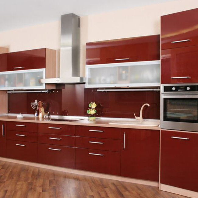 Beautiful Red Lacquer Kitchen Cabinets , MDF Wood Panel Pine Kitchen Cupboards