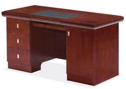Commercial Dark Red Wood Office Desk , Pre Finished Colored Particle Board Table