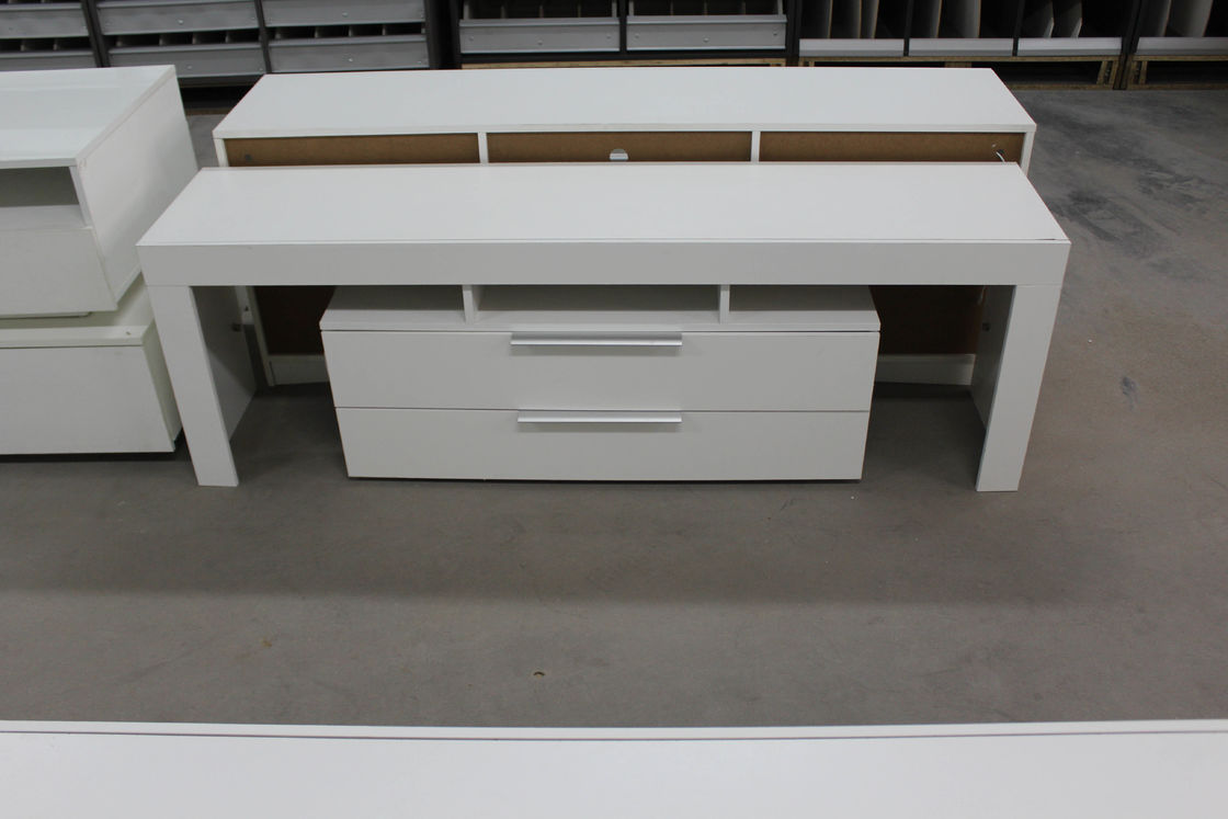 High Gloss White Wood TV Stand / Residential Using Solid Wood Corner TV Cabinet