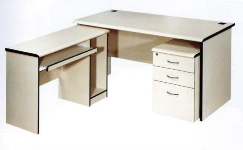 Water Resistant Particle Board Desk , No Ratten Plain Solid Wood Office Table