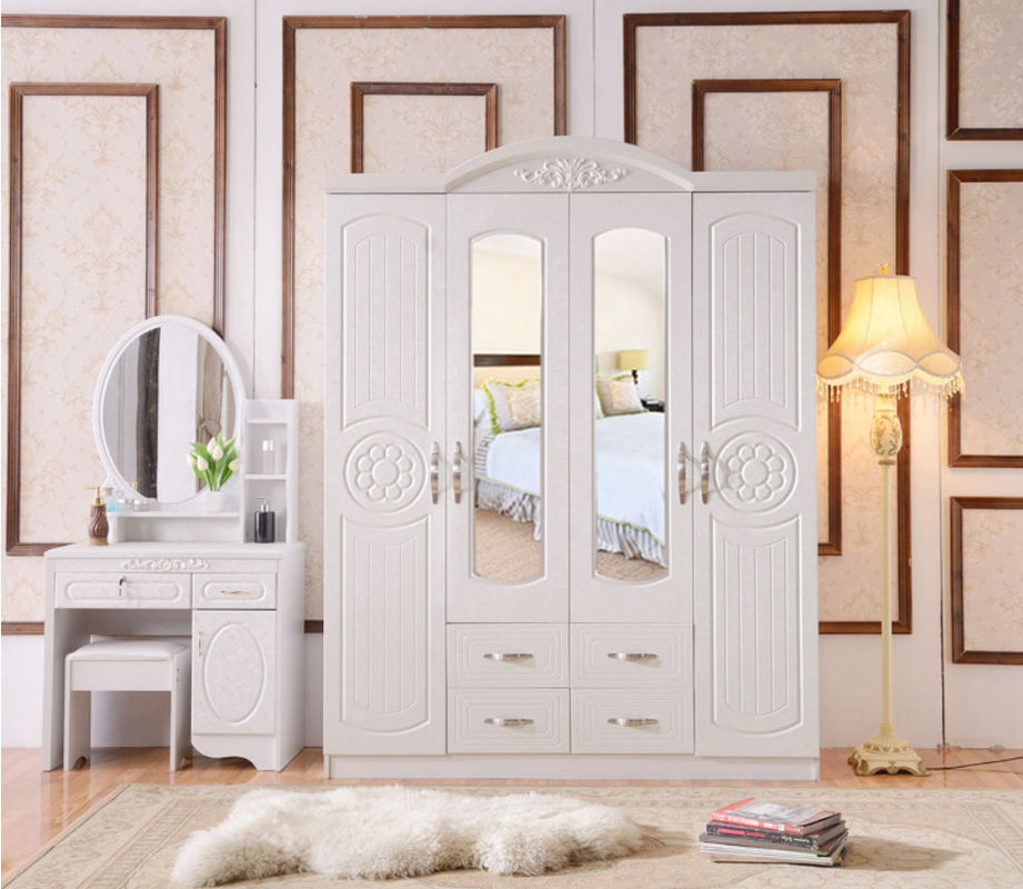 White Antique Style MDF material Wardrobe With Trouser Rack Multi Door Optional