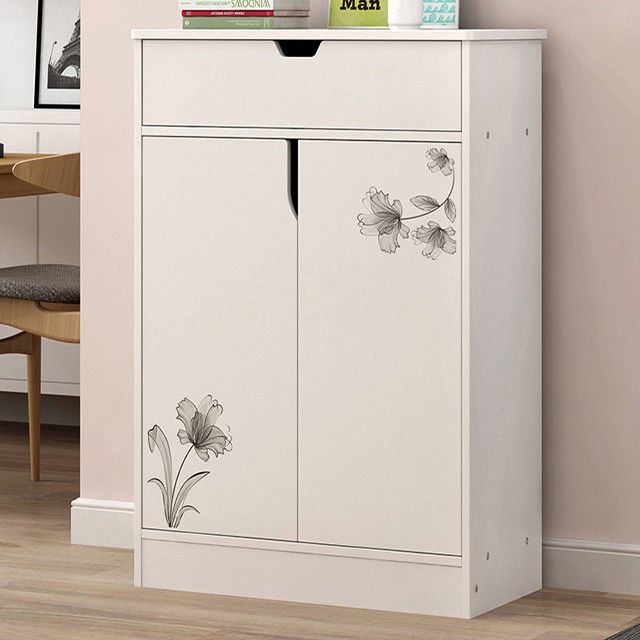 Melamine Coated Particle Board Wooden Shoe Storage Cabinet White Environmental Friendly