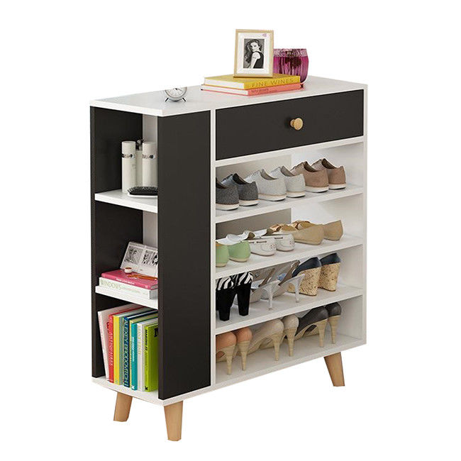 Simple Line Melamine Coated Particle Board Shoe Rack Modern Shoe Cabinet